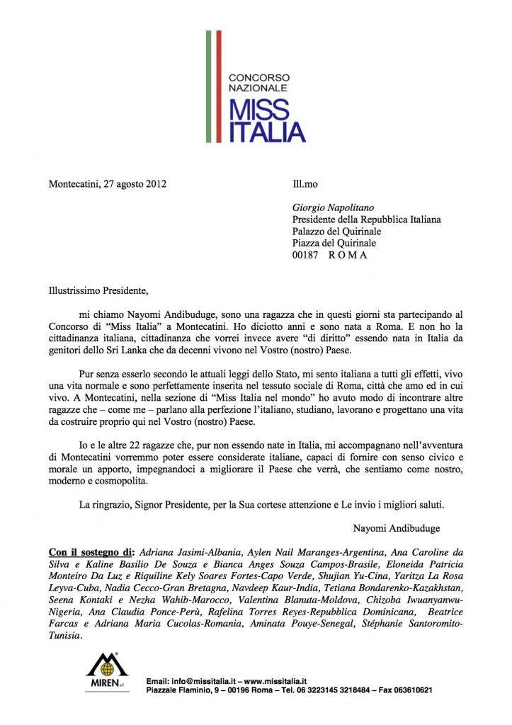 Lettera a Napolitano da Miss Italia settembre 2012